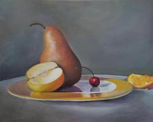Pear & Cherry oil on canvas 16 x 20