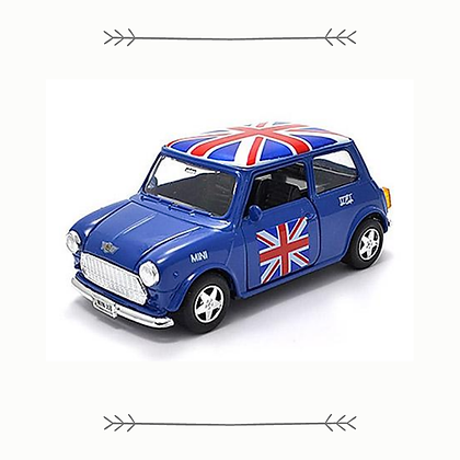 Blue Mini Cooper with Union Jack Roof
