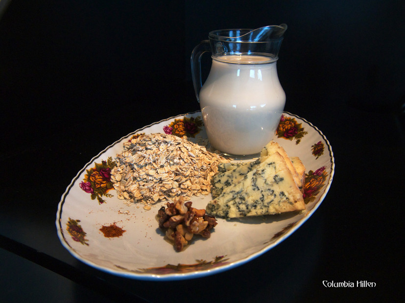 food photography, porridge and blue cheese, columbia hillen photography