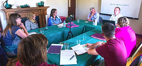guest authors speak to participants to ireland writing retreat