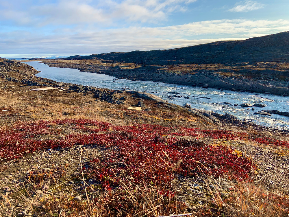 A view of the Sylvia Grinnel River entering Frobisher Bay taken during a site visit to Iqaluit.