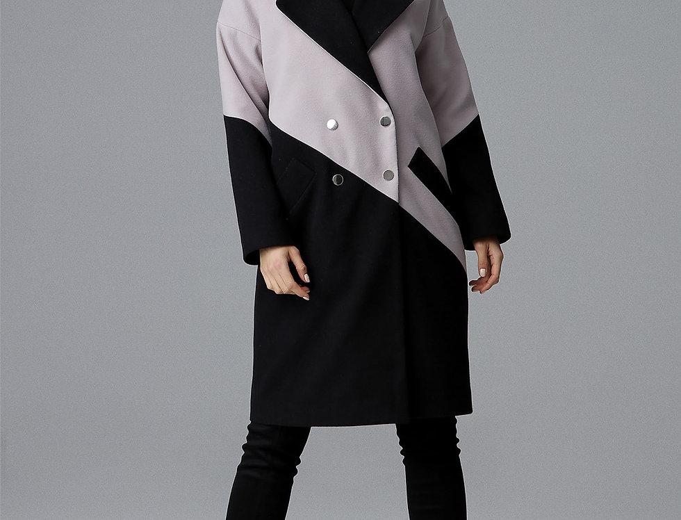 Coat M626 Black-Beige