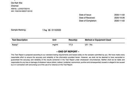 Rapport d'essai de concentration GS-441524. 11.2020