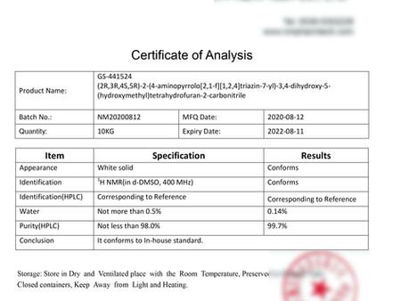 Résultat de l'essai pour 20mg/ml du laboratoire indépendant