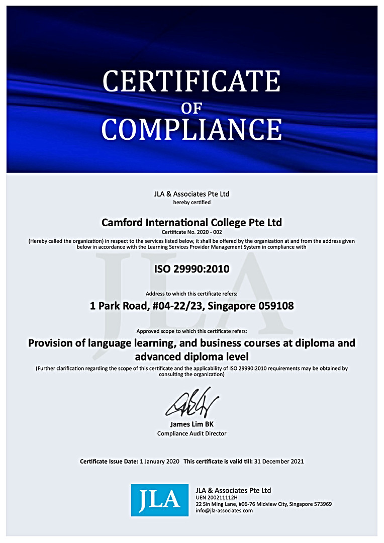 荣获国际标准化组织 ISO 29990:2010 的认证