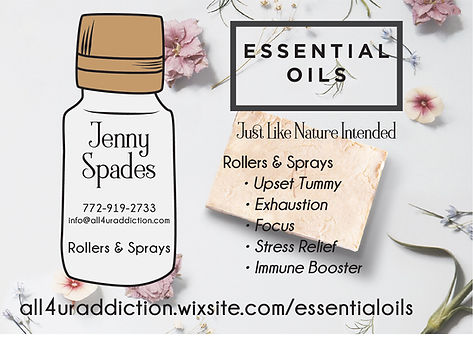 essential oils Jenny Spades, rollers and sprays, focus, exhaustion, stress relief, essential oils