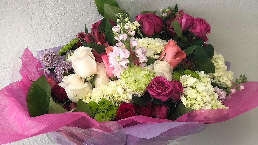 Pretty In Pink Wrapped bouquet