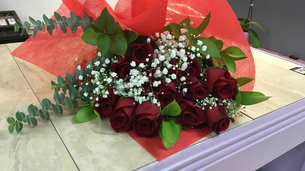 Red Rose Wrapped Bouquet