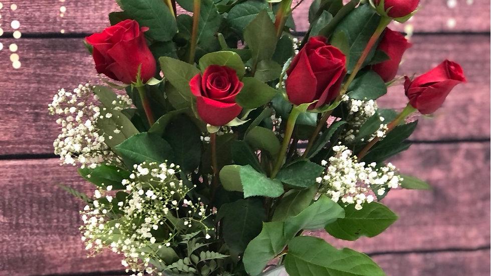 2 dozen red roses crystal style vase