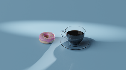Coffee and Donut Blender Render