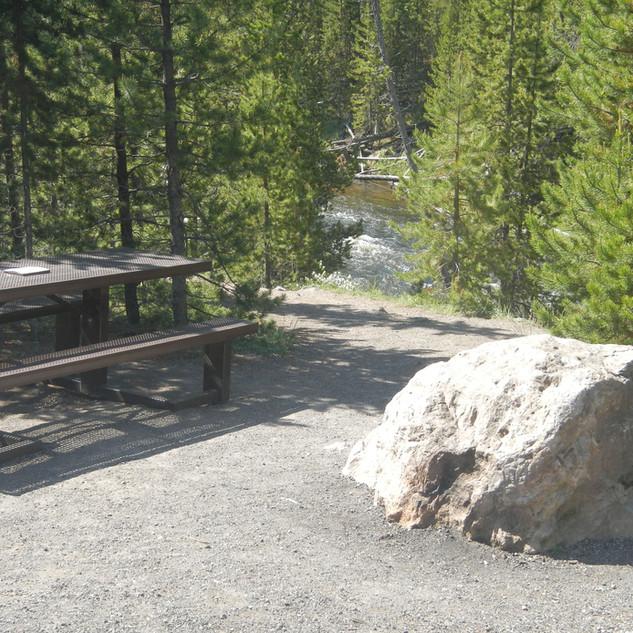 Picnic Table at Gibbon Falls Picnic Area