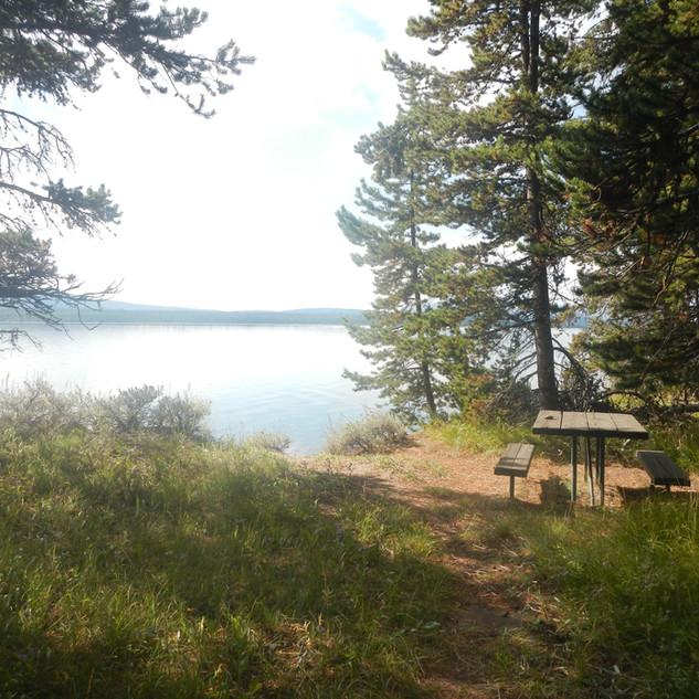 Yellowstone Picnic Area Table and Lake.J