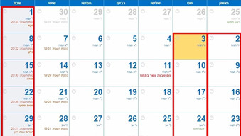 כמה פעמים יש 5 שבתות ביולי?