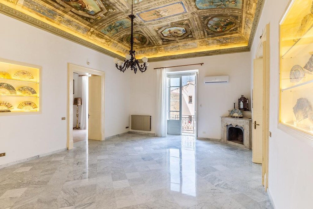 Elite Yoga Escape Sicily in August and September 2019 in the  gorgeous 18th century home. An unforgettable five-day yoga retreat - suitable for all levels - with twice-daily yoga, breathing and meditation classes in one of our Palazzo's most stunning rooms with marble floors and a ceiling fresco.