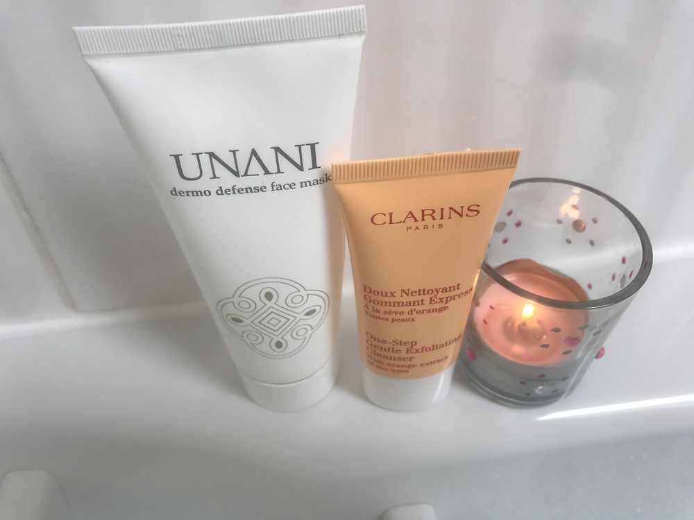 Unani Dermo Defense Face Mask, £11.36, Clarins One Step Gentle Exfoliating Cleanser, £21.00 for full size (this is a sample!)