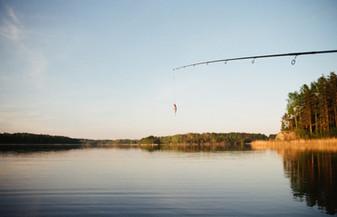 fishing on calm lake