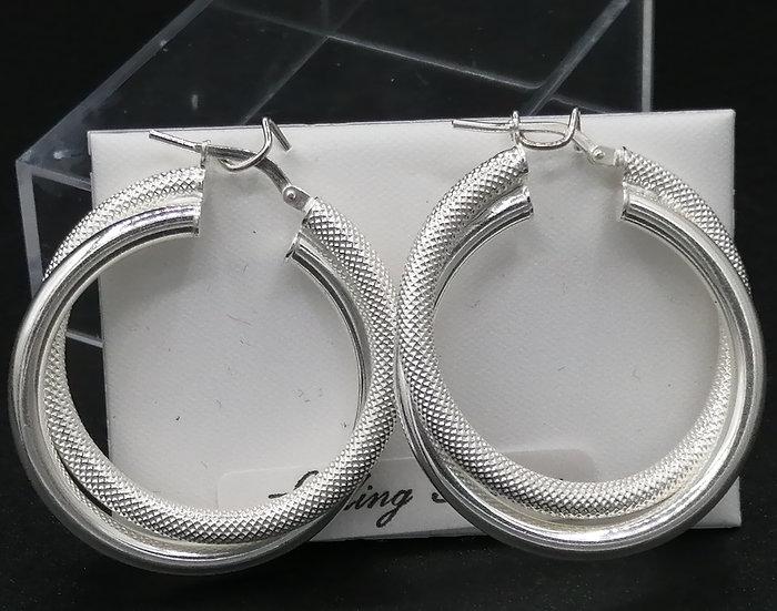 925 Silver Cable & Plain Twist Hoop Earrings