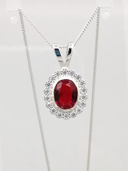 925 Silver Ruby Red CZ Cluster Pendant & Chain