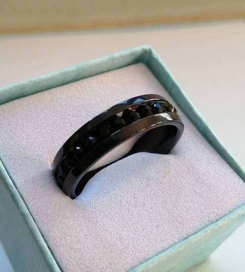 6mm Black CZ Stainless Steel Band Ring