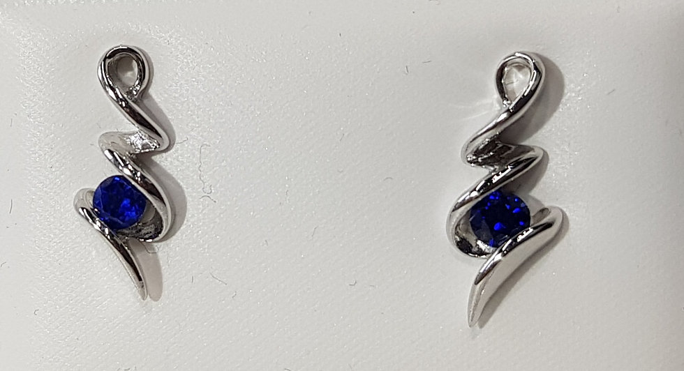 925 Silver Blue CZ Squiggle Earrings
