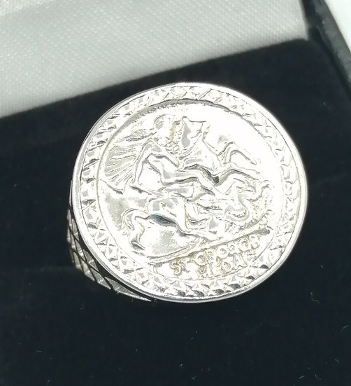 925 Silver St George Stamp Coin Ring