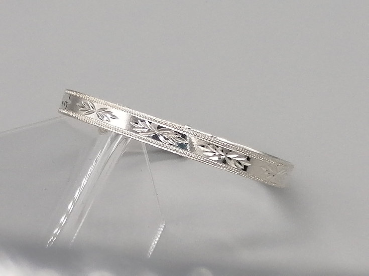 925 Silver D/C Star and Bead Edge Bangle