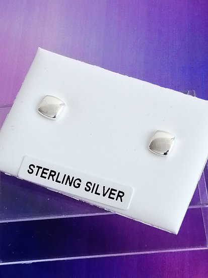 925 Silver Square Button Stud Earrings