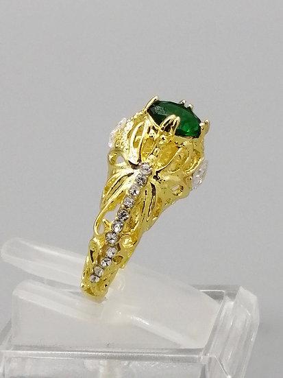 Gold Emerald Green & White CZ Ring