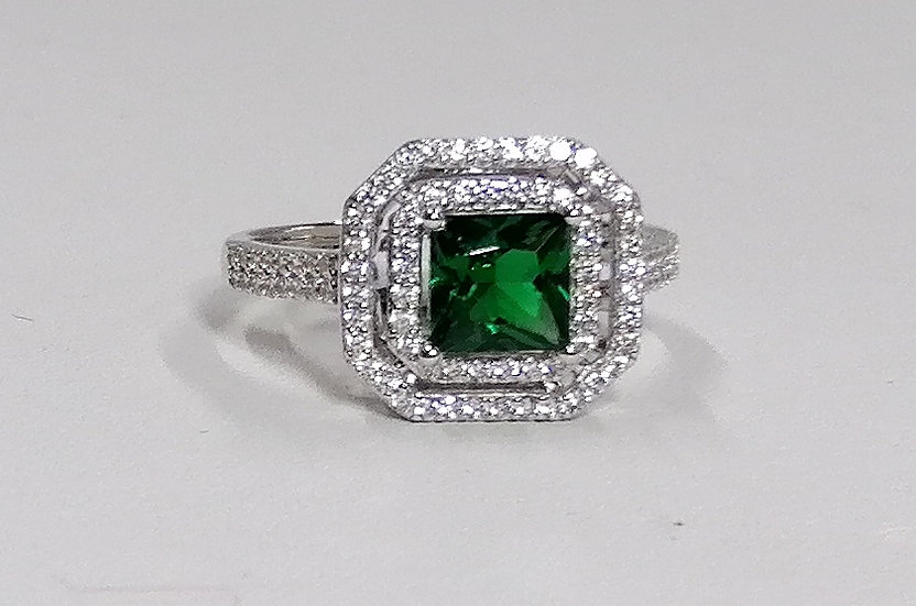 925 Silver Square Green & White CZ Cluster Ring