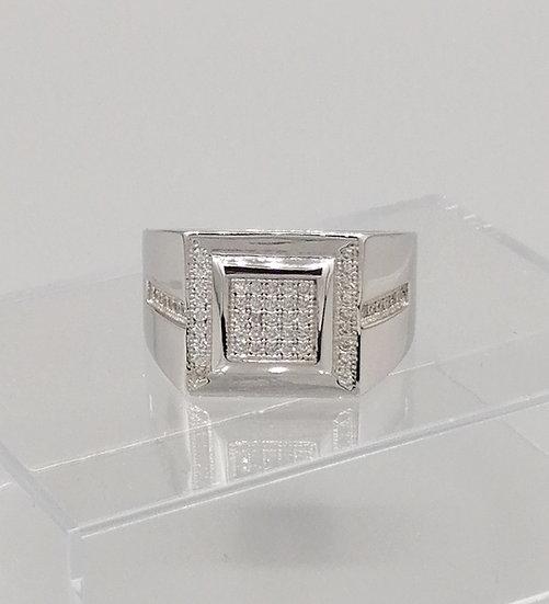 925 Silver CZ Sleek Line Sides Ring
