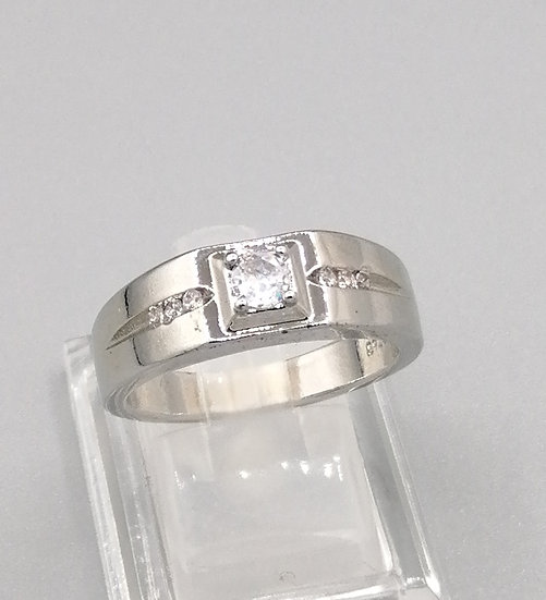 Silver CZ Fancy Band Ring