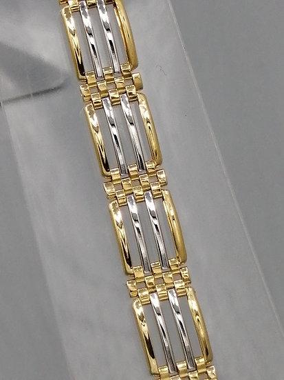 9ct White & Yellow Gold 4 Row Gate Bracelet