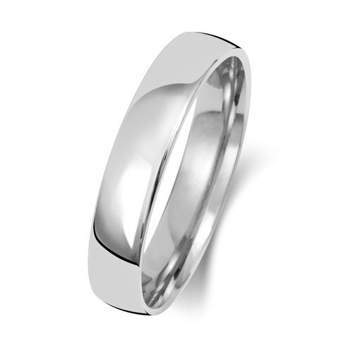 9ct White Gold 4mm Plain Soft Court Band - Special Order*