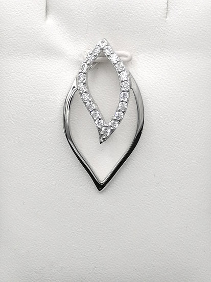 925 Silver CZ Double Leaf Pendant