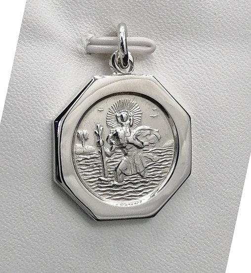 925 Silver Hexagonal St Christopher