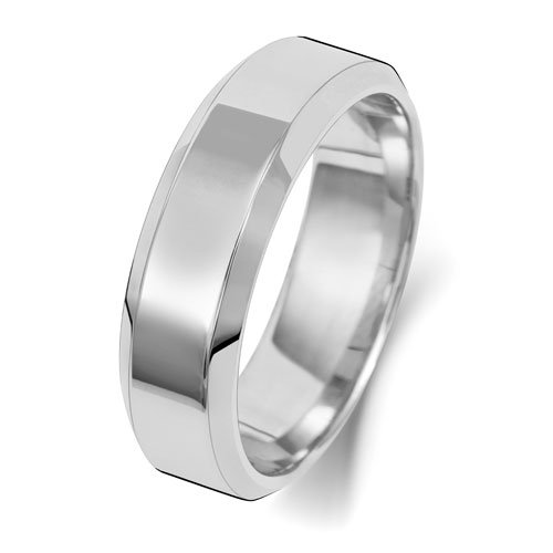 9ct White Gold 6mm Flat Tapered Soft Court Band with - Special Order*