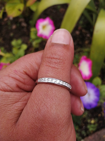 925 Silver CZ Channel Set Ring