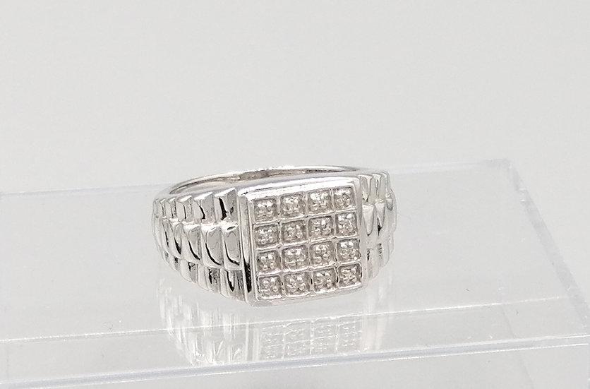 925 Silver Diamond Square Steps Ring