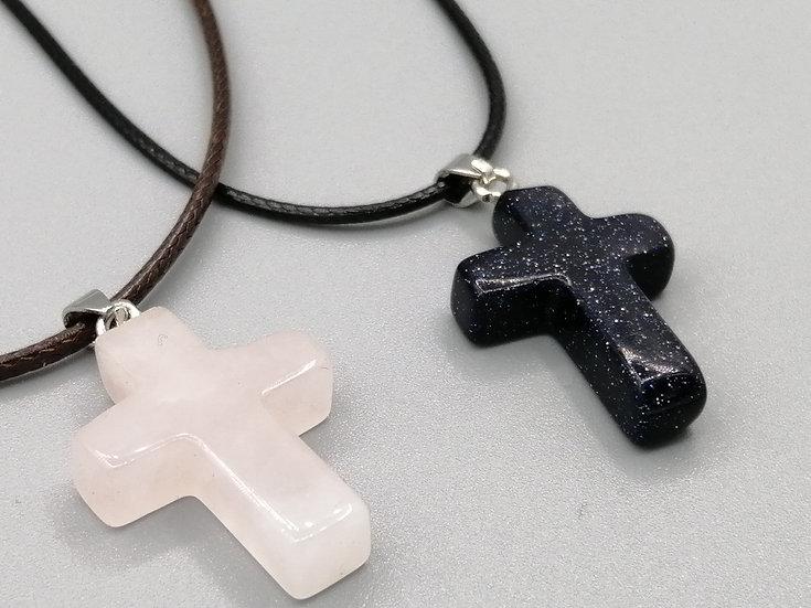 Rose Quartz & Blue Gold Stone Cross & Necklace Set