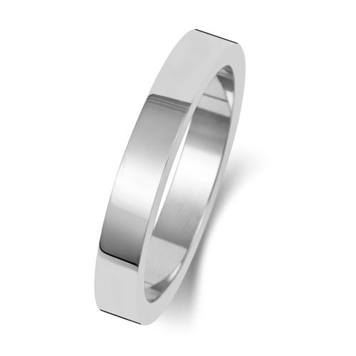 9ct White Gold 3mm Flat Finish Band - Special Order*