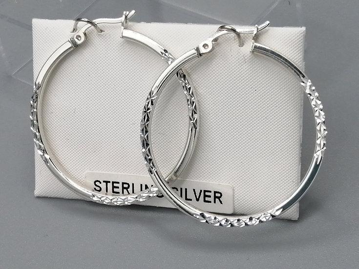 925 Silver D/C & Plain Flat Hoop Earrings