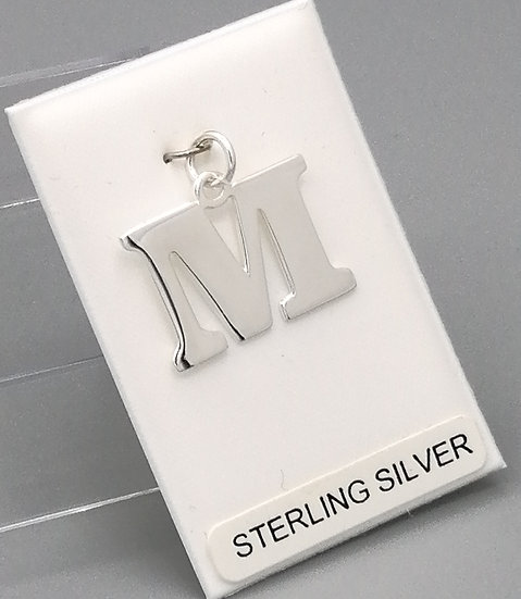 925 Silver Initial 'M'