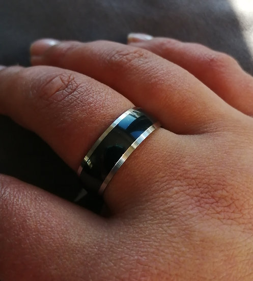 8mm Stainless Steel Black Strip Band Ring