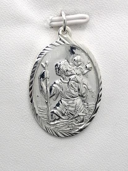 925 Silver Diamond cut Oval St Christopher