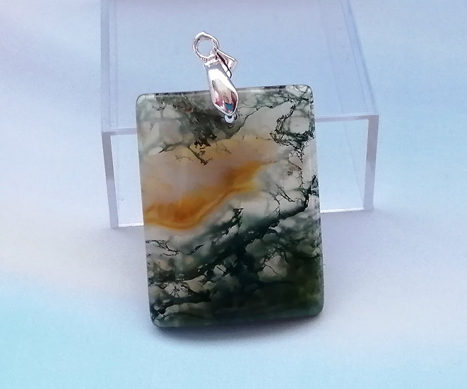 Forest Agate Rectangle Pendant