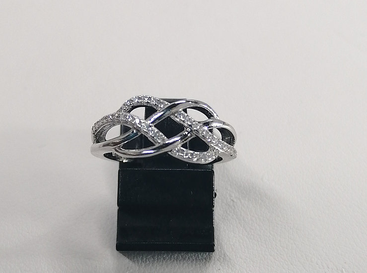 925 Silver CZ Knot Wave Ring