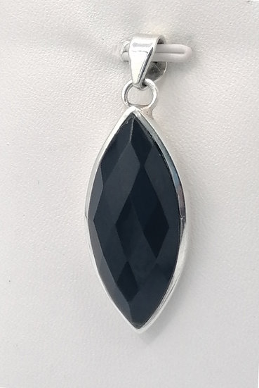 925 Silver Marquise Onyx Pendant