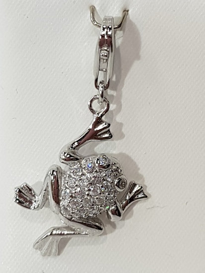 925 Sterling Silver CZ Frog Charm