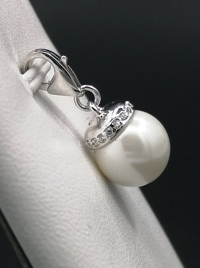 925 Silver CZ Star Pearl Bead Pendant Charm