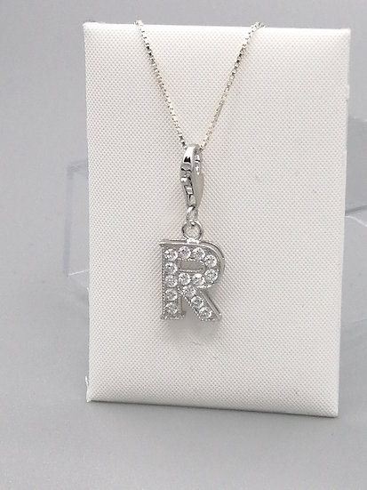 925 Silver Iced CZ Initial 'R'